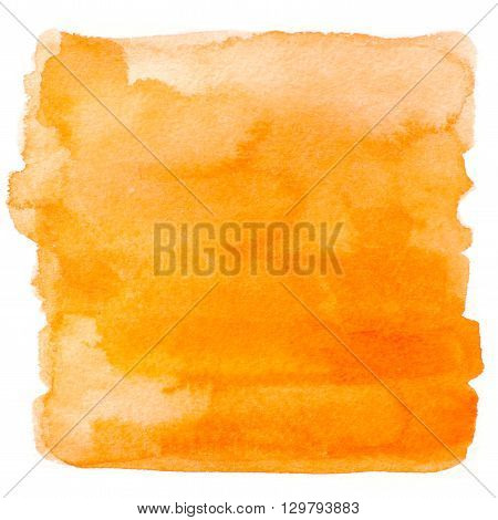 Abstract watercolor art hand paint isolated on white background. Watercolor stains. Square orange watercolor banner
