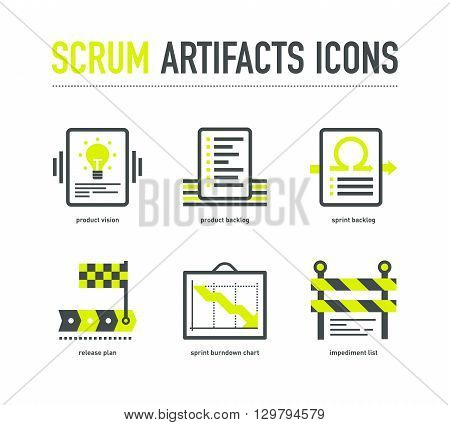 Scrum artifacts icons in grey lime colours