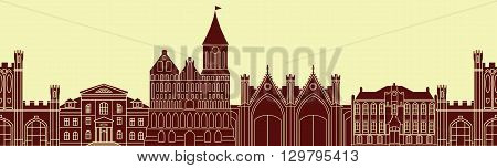Seamless pattern with europe architectural monuments of Prussia. Template for any surface. Vector silhouettes of old buildings in Kaliningrad.