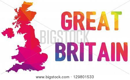 Low polygonal map of the United Kingdom of Great Britain and Northern Ireland in warm colors UK United Kingdom Great Britain England Scotland Wales mosaic colorful cartography Europe island poster