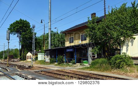 Libechov station in central Bohemia in spring time