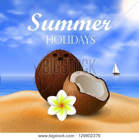 Coconut tropical nut fruit with cut vector illustration on a beach  background with tropical flower plumeria and a boat
