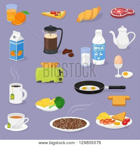 Vector breakfast time illustration with fresh food and drinks. Vector icons set.