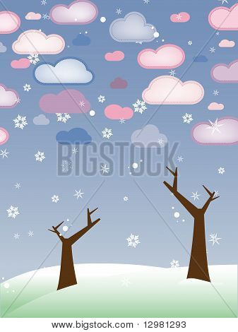 Vector - Retro Snowy Landscape with Leafless Trees - Season Winter poster