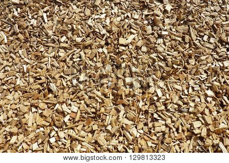 Closeup of wood chippings on garden pathway