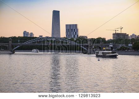 Moscow, Russia - May, 14, 2016: Landscape with the image of skycrapers in Moscow, Russia