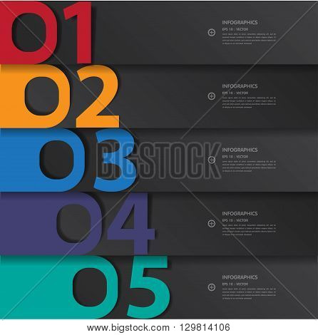 Step number Design template. Vector . illustration.