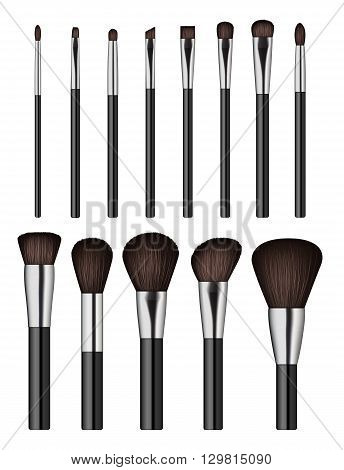 Makeup brush isolated on white background. Vector illustration. Beauty tools. Vector Makeup brush. Makeup brush different size.