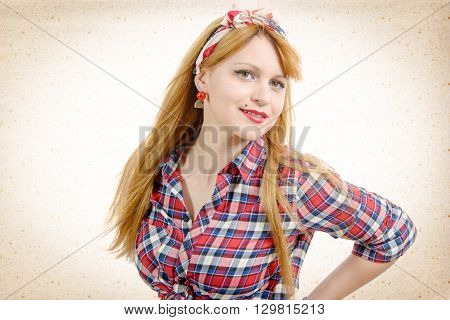 portrait of retro beautiful pin up girl