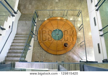 BEER SHEBA ISRAEL - MAY 04 2016: Pendulum Foucault is suspended in the building of the Faculty of Physics University of Ben Gurion