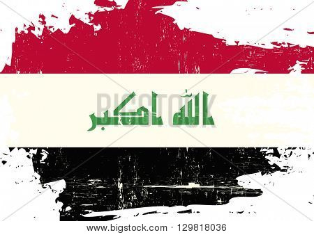 Iraq scratched Flag. An Iraqi flag with a grunge texture