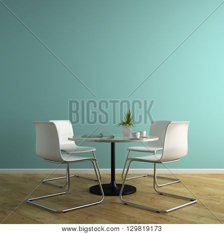 Part of interior with white armchairs and table 3D rendering