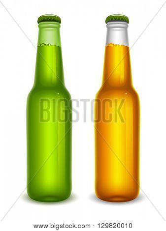 Set of realistic green and white beer bottles with lager beer and cap. Blank beer bottles full of beer, ready for new design. Isolated vector illustration