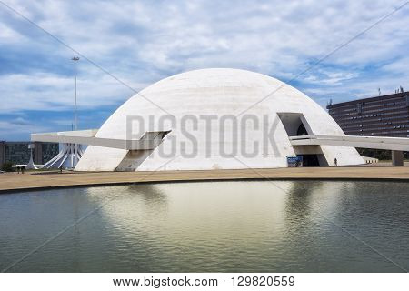 Brasilia, Brazil - November 17, 2015: The National Museum in Brasilia, capital of Brazil. Designed by Brazilian architect Oscar Niemeyer, the museum was inaugurated in 2006.