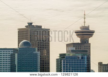 This is a photo of downtown Vancouver. The lookout tower is named the Harbour Center.