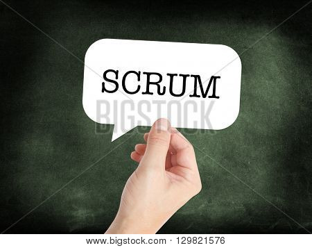 SCRUM written on a speechbubble