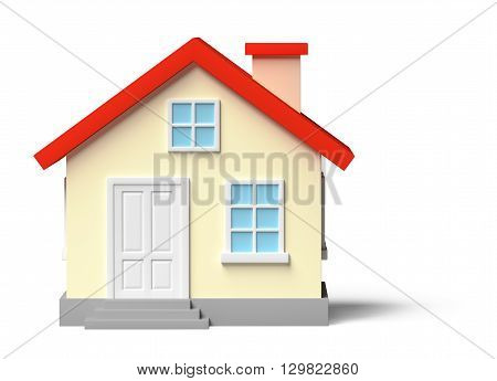 Funny Yellow House Isolated On White
