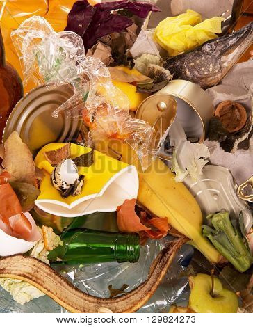 A pile of food and household waste closeup. Texture.