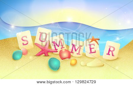 Summer holidays illustration. Word summer made of letter tiles on the sand with starfishes and shells. Summer vector background