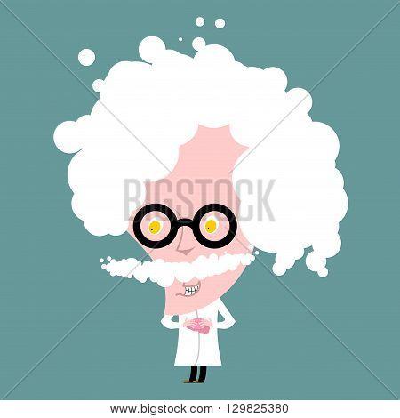 Crazy Professor In White Coat. Nutty Scientist Keeps Brain. Scientific Worker Of Glasses. Genius Gra