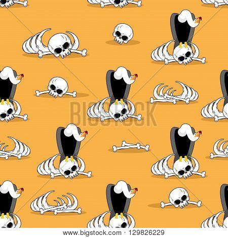 Vulture On Bones In Desert Seamless Pattern. Dead Desert Background. Griffon Gnaw Skeleton Ornament.