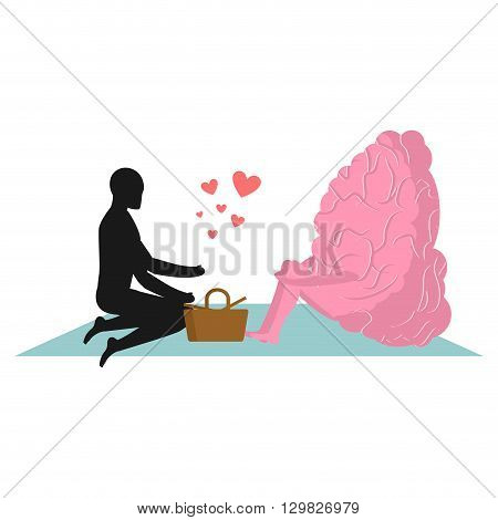 Brain At Picnic. Date In Park. Mind And Eople. Rural Jaunt Lovers. Meal In Nature. Plaid And Basket