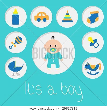 Its a boy. Baby boy shower card with bottle horse rattle pacifier sock car toy baby carriage pyramid. Round icon set. Blue background. Flat design Vector illustration