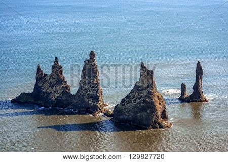 Standing rocks near Vik, most southern village in Iceland