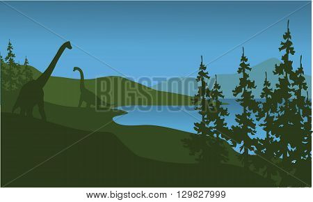 Silhouette of brachiosaurus in lake a beautiful scenery