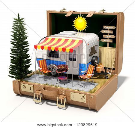 RV camper trailer with camping equipment in the case - 3D illustration