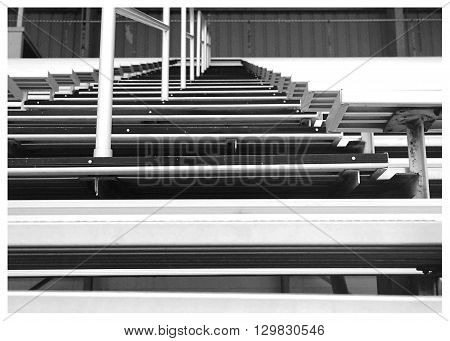 Low angle of bleachers at the St. Joseph County, Indiana 4-H Fairgrounds