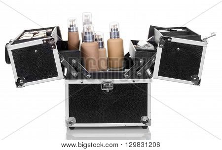 Open a professional bag with cosmetics isolated on white background.