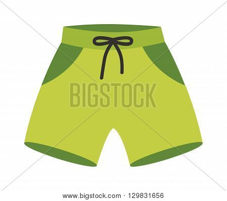 Green running shorts isolated on white background. Clothing sport running shorts ang apparel fitness fashion running shorts. Pants tennis garment running shorts run, health summer sportswear.