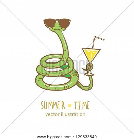 Summer card with cute cartoon  snake  in  sunglasses. Glass with a cocktail.  Summer time. Vector image. Children's illustration.