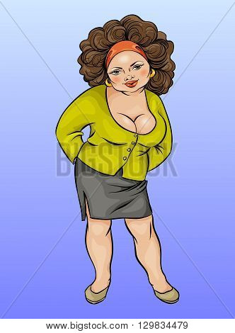 Cartoon character plump young woman large size vector illustration hand drawing