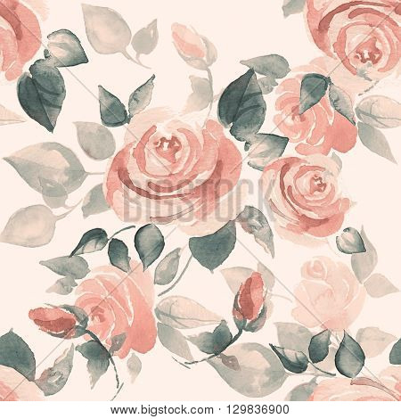 Background with beautiful roses. Seamless pattern with hand-drawn watercolor flowers