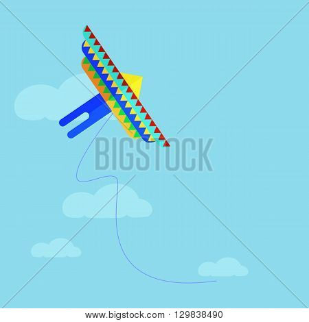 Flat colorful kite flying on the background of blue sky and clouds. Cartoon kite flying flies in the sky. Vector stock illustration.
