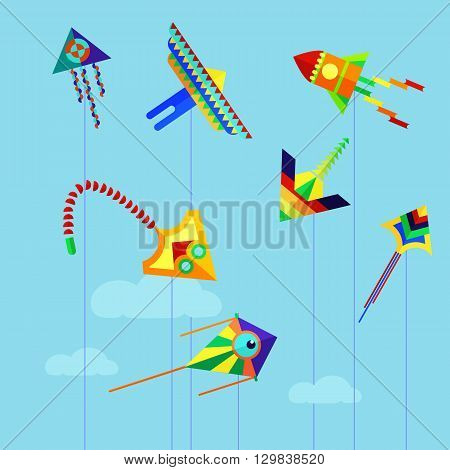 Set of flat colorful kite flying on the background of blue sky and clouds. Cartoon kite flying flies in the sky. Vector stock illustration.