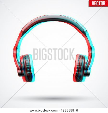 Realistic Headphones with visual Anaglyph stereoscopic effect. Vector Illustration Isolated on White Background