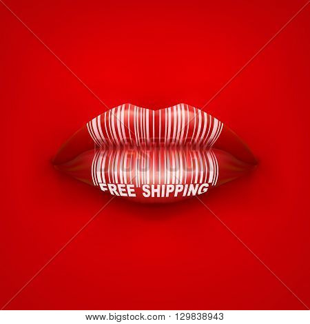 Vector Background of Woman mouth with lips and tag Free Shipping. Sale ot promotion illustration.