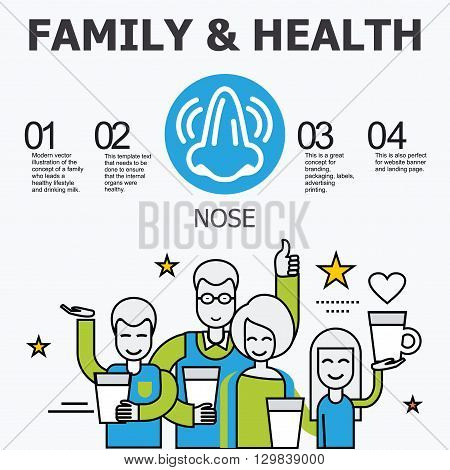 Internal organs - nose. Family and a healthy lifestyle. Medical infographic icons, human organs, body anatomy. Vector icons of internal human organs Flat design.