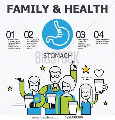 Internal organs - stomach. Family and a healthy lifestyle. Medical infographic icons, human organs, body anatomy. Vector icons of internal human organs Flat design. Internal organs icons.
