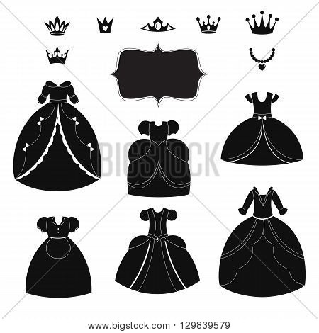 Princess dress silhouettes set. Cartoon black and white wearable items. Vector illustration isolated on white background.