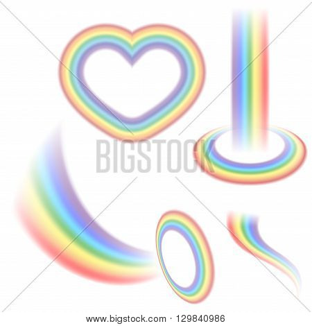 Rainbow icons set. Different shapes realistic isolated on whtie background. Colorful light and bright design elements collection for decorative. Symbol of rain sky clear. Vector illustration.