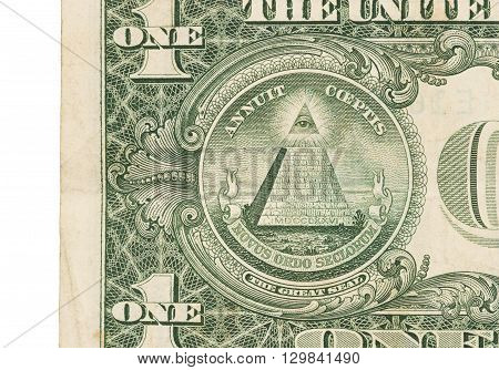 Us One Dollar Bill, Close Up, Great Seal