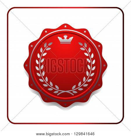 Seal award red icon. Blank medal with laurel wreath isolated on white background. Design certificate Label emblem. Symbol of assurance winner guarantee and best premium quality Vector illustration