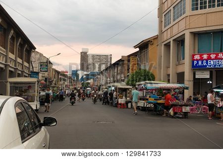 Georgetown Penang Malaysia - February 11 2016: A street food and Sino Portuguese building in the historical town of Georgetown