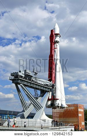MOSCOW, RUSSIA - MAY 7, 2016: The rocket Vostok on the launch pad
