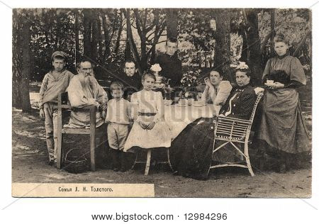 Old post card with L.N.Tolstoy's family portrait poster