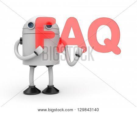 Robot with word FAQ. 3D illustration